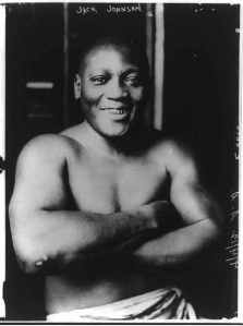 Boxing Heavyweight Champion Jack Johnson, whose victory against a white opponent on July 4, 1910 would lead to race riots, resulting in 26 deaths.